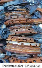 Rusty old clutch discs car parts scrap recycling