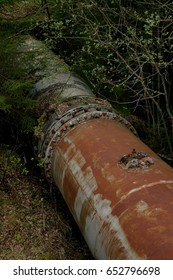 Rusty old turbine pipes in a forest