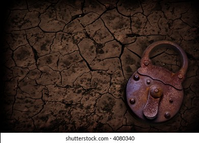 rusty padlock with a crackled background