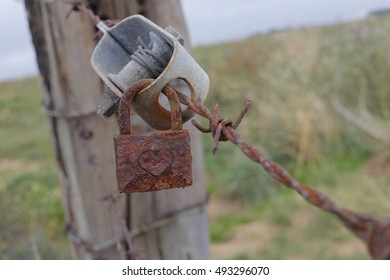 rusty padlock with hard engraved