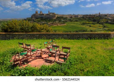 A rusty playground merry-go-round in Mtarfa Malta