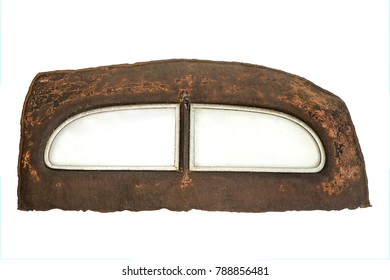 Rusty rear end with window of a vintage car isolated on white background.