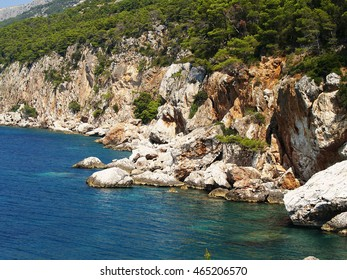 Rusty  rocky coast of adriatic sea  with pine trees and still blue and turquoise water at bright sunlight
