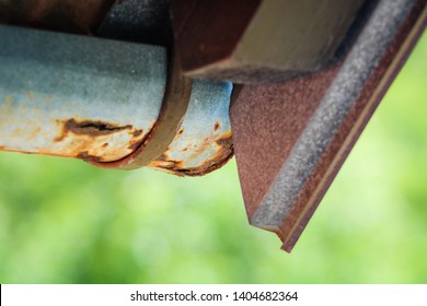 rusty roof gutter ,  corrosive roof gutter iron , broken corrosive roof lime