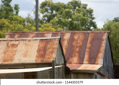 Rusty roof on a corrugated metal house near Irvinebank on the Atherton Tableland in Queensland, Australia