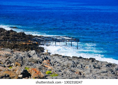 rusty scaffolding at the coast of Crete near the village Sissi