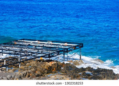 rusty scaffolding at the coast of Crete near the village Sissi