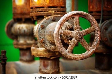 Rusty sewer valve - underground old sewage treatment plant in Shanghai.
