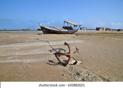 Rusty ship grounded at the beach, Masirah Island, Sultanate of Oman