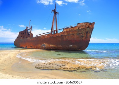 Rusty ship wreck near Gythio, Greece