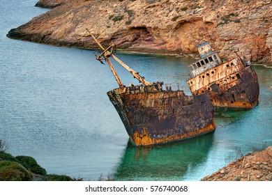 Rusty shipwreck in Amorgos island, Greece