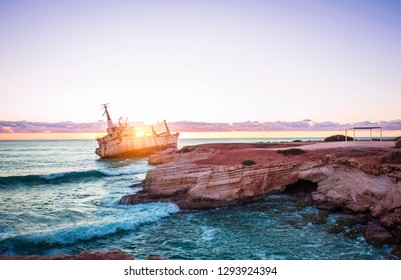 Rusty Shipwreck at the coast in Cyprus