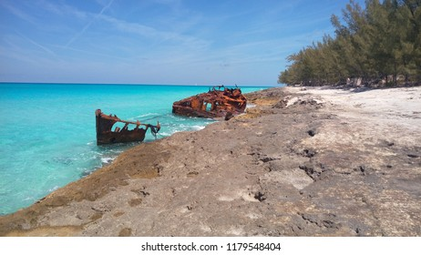 A rusty shipwreck off the coast of Bimini, The Bahamas