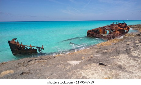 A rusty shipwreck off the shore of Bimini, The Bahamas