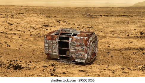 rusty space capsule on martian land