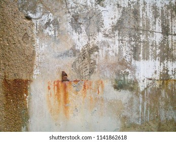 rusty stains on old concrete wall texture, abstract peeling paint on cement surface texture, dirty wall background