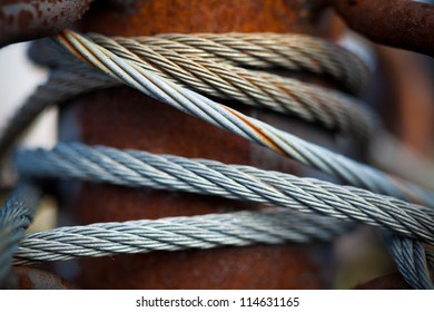 Rusty steel cable close-up.