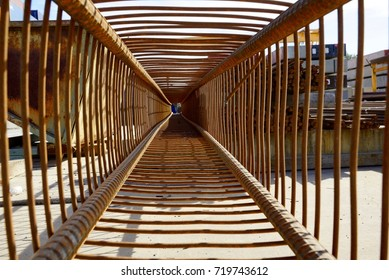 Rusty steel cage perspective view