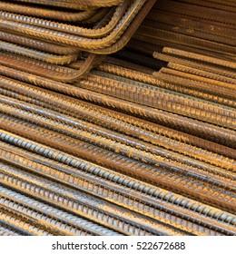 Rusty steel reinforcement bars