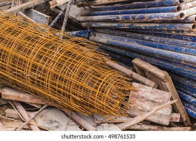 Rusty Steel Wire at building construction site. Select focus