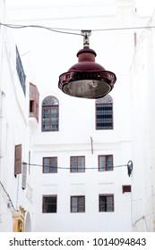 Rusty Streetlamp in the old town (Medina) of Rabat, Marocco.