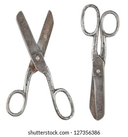 Rusty tailor scissors in closed and opened form isolated on white background