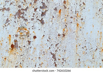 Rusty texture of a steel railroad bridge near Grabovka village, Gomel region, Belarus.