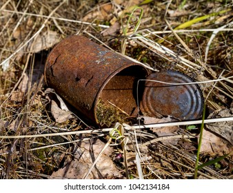 Rusty tin can on dry grass in the forest