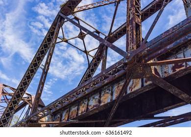 Rusty Train Bridge Over River