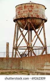 Rusty Water Tank in alcatraz on a cloudy day