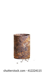 Rusty weathered tin can, on white, still life photography