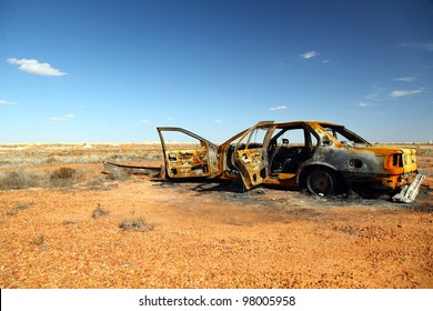 rusty wrecked car in Outback Australia
