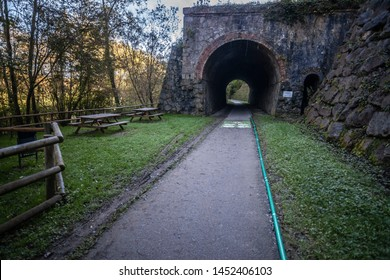 Ruta del Ferro, Iron and Coal Route, Old railway transformed in trail walk or bike ride. Villages of Sant Joan de les Abadesses and Ripoll, in Ripolles area, Catalonia, Spain.