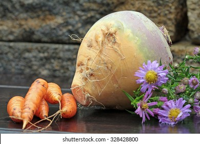 rutabaga and  ingredients for a stew