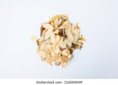 Rutabaga  peals on a white background