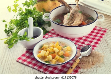 Rutabaga soup with goose meat