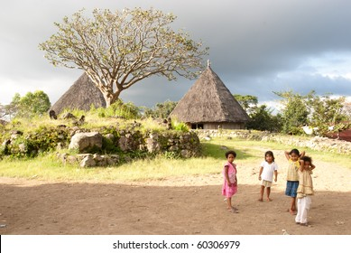 RUTENG, INDONESIA - JULY 31: unidentified children in a traditional village in Ruteng, July 31, 2010. In 2007 23.6 million rural Indonesians were living below the national poverty line (source IFAD)