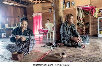Ruteng Puu tradtional village, Flores, Indonesia - August 2018: Family of head of local tribe, chief of village.  The people of indonesia