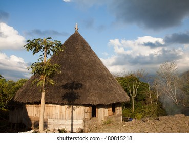 Ruteng Puu tradtional village, houses typical for the Manggarai district in Flores.