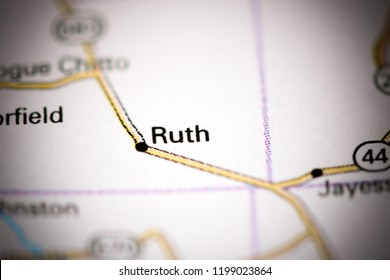 Ruth. Mississippi. USA on a map