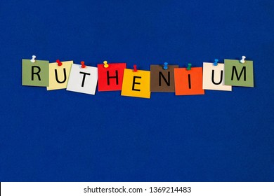 Ruthenium – one of a complete periodic table series of element names - educational sign or design for teaching chemistry.