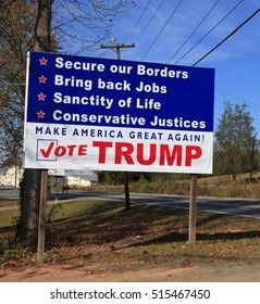 Rutherford, NC - November 6, 2016: Trump sign along rural Hwy 74 in North Carolina