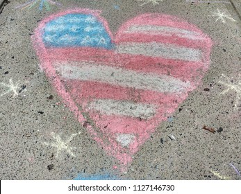 Rutherford, New Jersey / USA - July 04 2018: In Lincoln Park, this patriotic sidewalk chalk drawing was an entrant in the Junior Woman's Club's11th Annual Children's Chalk Drawing Contest.
