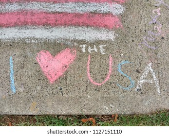 Rutherford, New Jersey / USA - July 04 2018:In Lincoln Park, this patriotic sidewalk chalk drawing was an entrant in the Junior Woman's Club's 11th Annual Children's Chalk Drawing Contest.