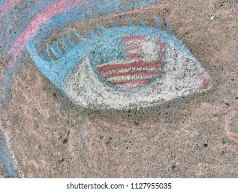 Rutherford, New Jersey / USA - July 04 2018: This creative, patriotic sidewalk chalk drawing was an entrant in the Rutherford Junior Woman's Club's 11th Annual Children's Chalk Drawing Contest.