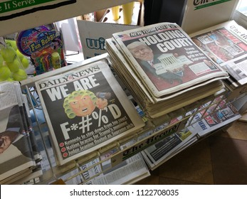 Rutherford, New Jersey / USA - June 28 2018: Both the Daily News and the New York Post feature headlines regarding the retirement and anticipated replacement of Supreme Court Justice Anthony Kennedy.