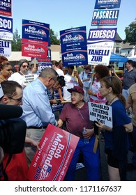 Rutherford, New Jersey / USA - September 03 2018: United States Senator Bob Menendez at the 43rd Annual Rutherford Labor Day Street Fair.