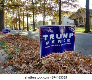 Rutherford, New Jersey/USA November 8 2016: Signs on election day remind voters to vote Donald Trump for President of the United States of America.