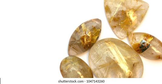 Rutile in quartz gemstone isolated on white background