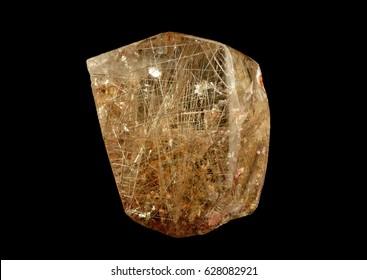rutile in quartz, titanium dioxide.  Brazil, Minas Gerais.